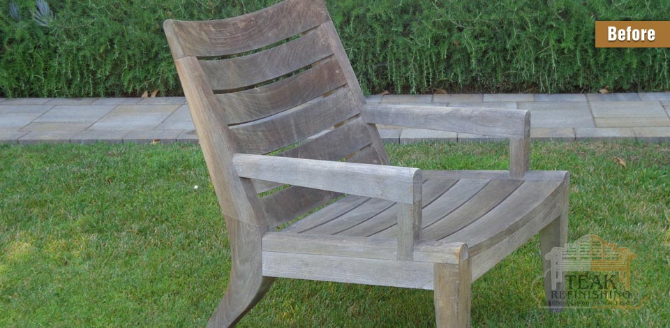 What are the steps of refinishing outdoor teak furniture